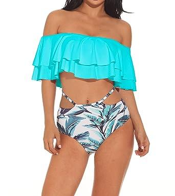 5374808a3e958 Creabygirls Floral Print Flounce Two Piece Swimsuit High Waist Ruffled Off-Shoulder  Bathing Suit (
