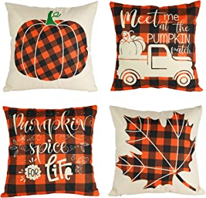 CandoCraft Thanksgiving Fall Throw Pillow Covers 18x18 Set of 4 Autumn Fall Home Decor Farmhouse Buffalo Plaid Pillow Covers Holiday Harvest Pumpkin Decorations