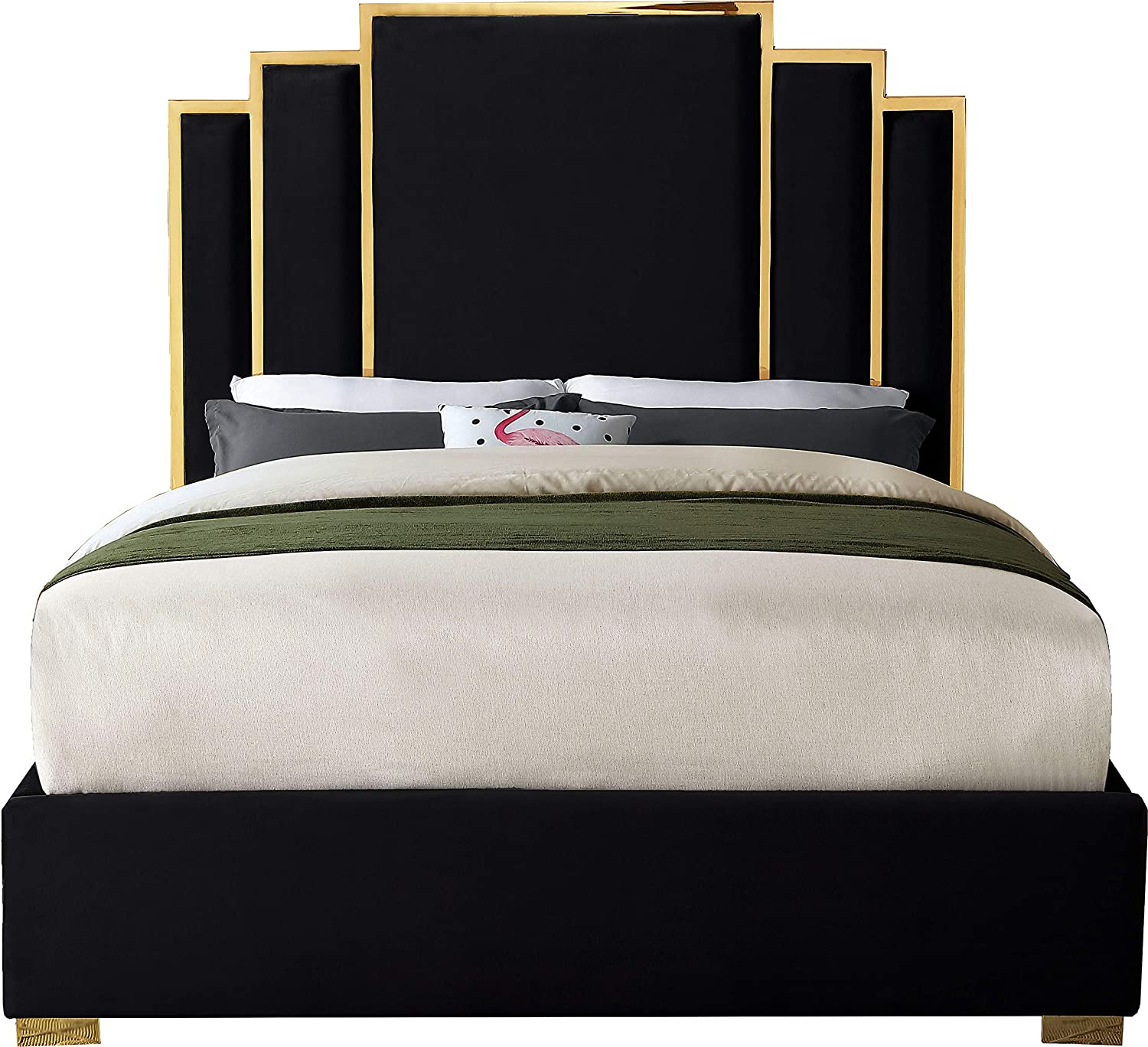 Meridian Furniture Hugo Collection Modern | Contemporary Velvet Upholstered Bed with Polished Gold Metal Frame and Legs, Queen, Black