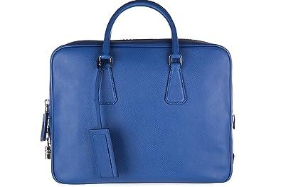 e31b67503c Prada sac porte-documents homme en cuir saffiano travel blu: Amazon ...