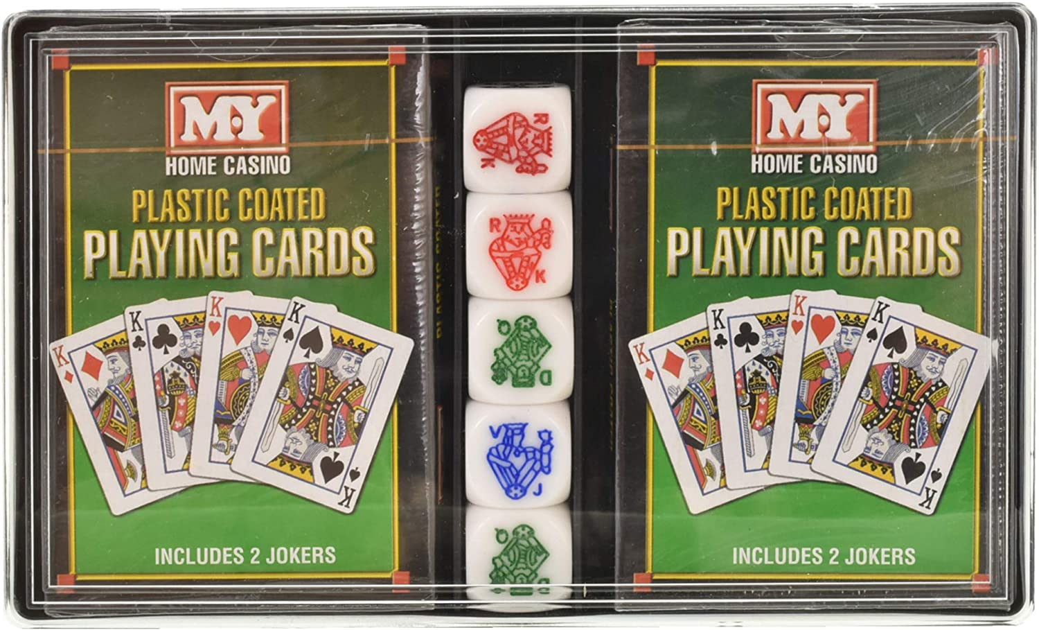 M Y Playing Cards And Poker Dice 2 Packs Of Playing Cards With 5 Poker Dice Amazon Co Uk Toys Games