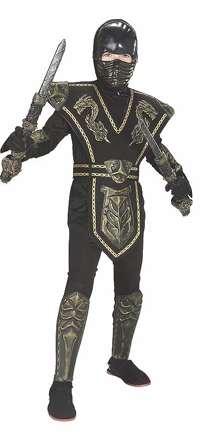 Childs Gold Dragon Warrior Ninja Costume, Large
