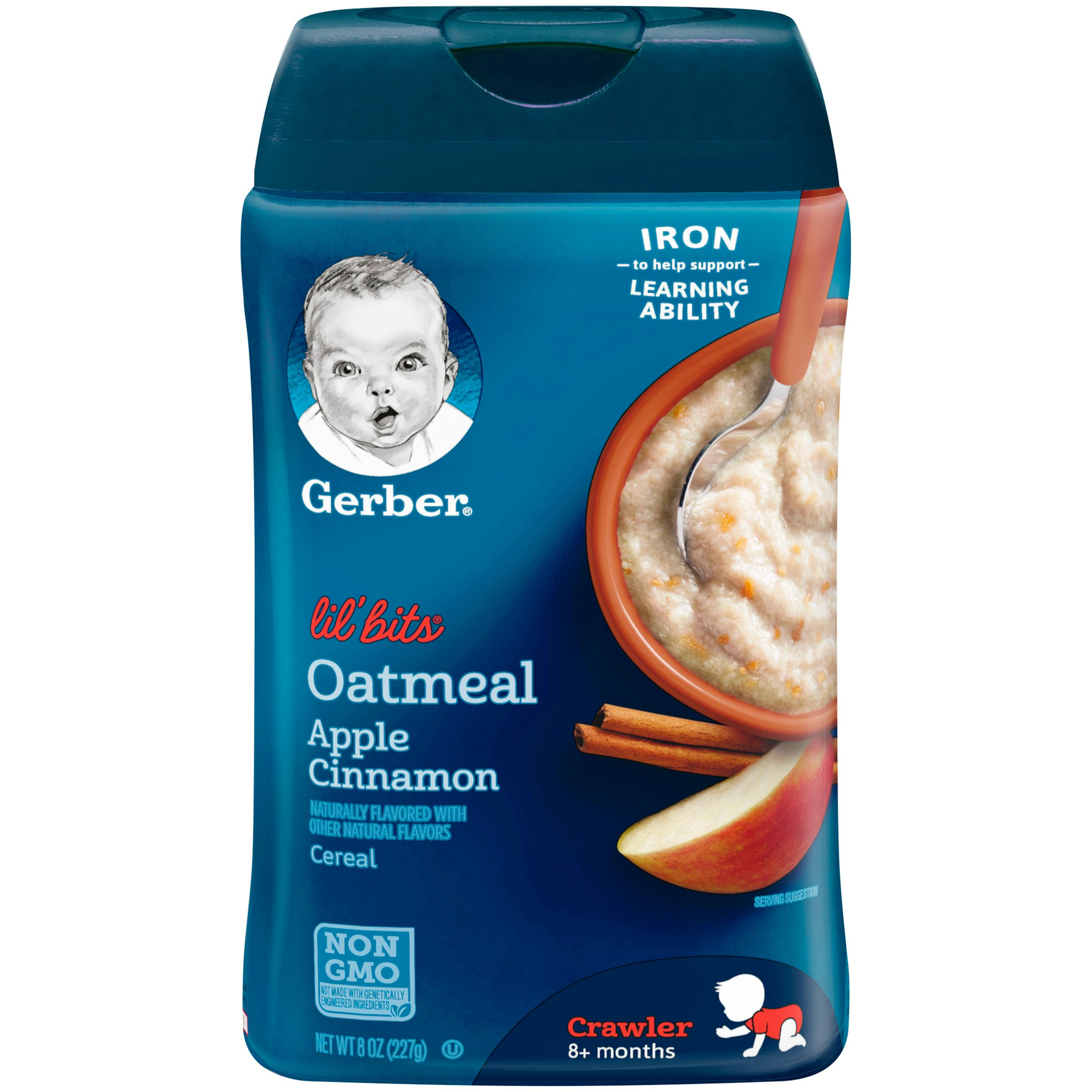 Gerber Baby Cereal, Lil' Bits Oatmeal Apple Cinnamon, 8 Ounce (Pack of 6) by Gerber Baby Cereal (Image #1)