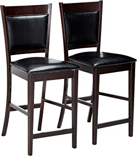 Jaden Vinyl Counter Stools Black And Espresso (Set Of 2)