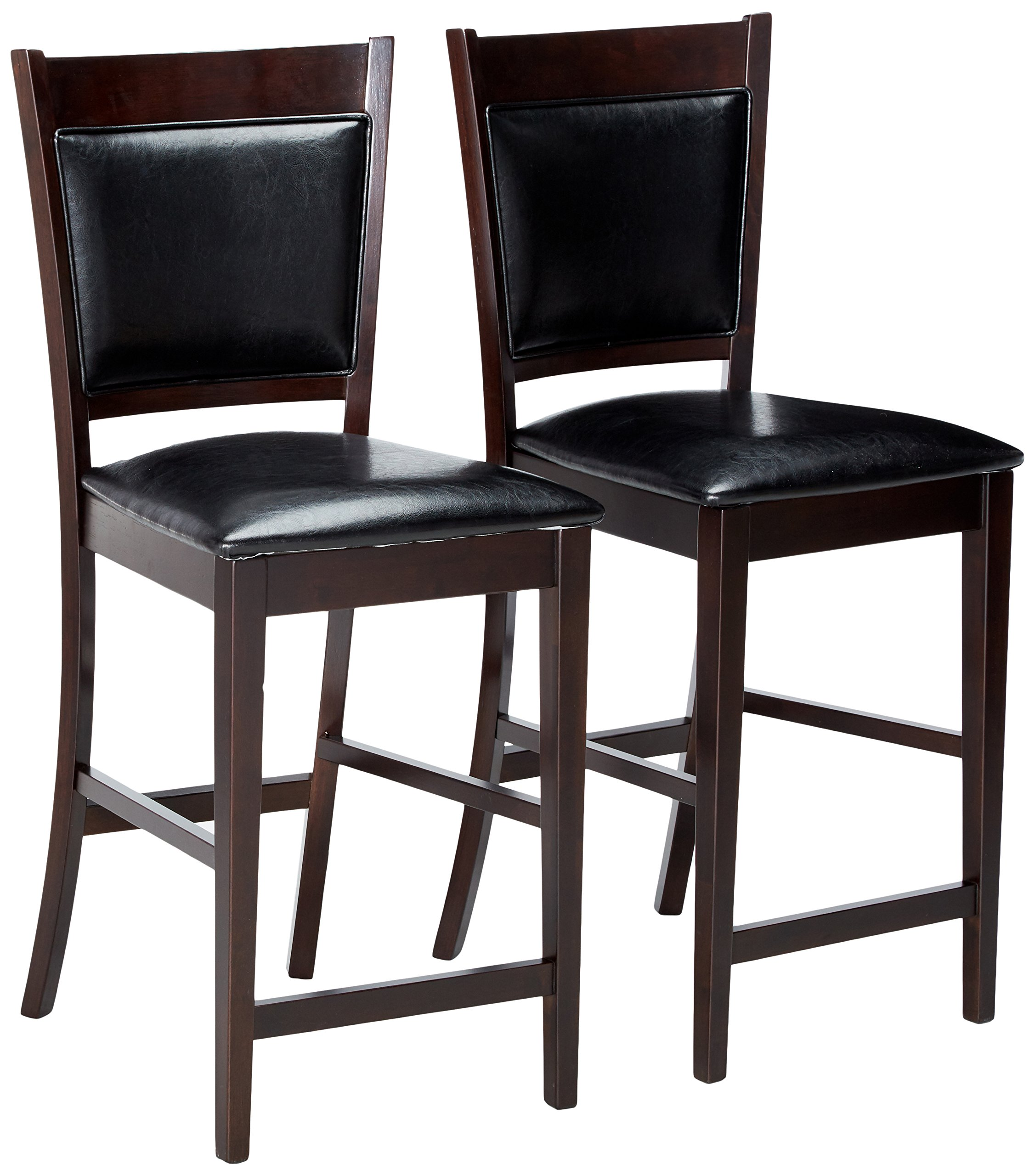 Jaden Vinyl Counter Stools Black and Espresso (Set of 2) by Coaster Home Furnishings