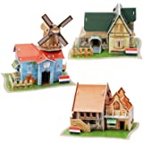 FYY 3D Puzzle for Kids,Puzzle for Adults,[3 Pack] Dutch Villa Ranch Cafe Model Kits Puzzles Toys DIY Arts and Crafts for Boys