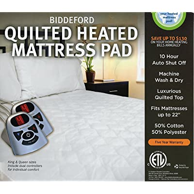 Biddeford Automatic Heated Quilted Mattress Pad White Color 1 Twin