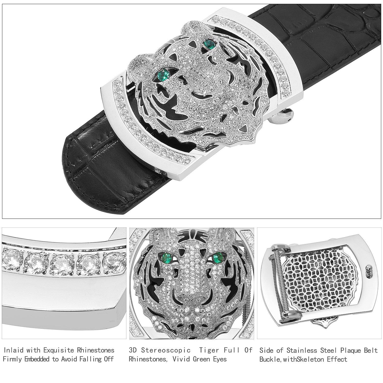 Men's Belts Luxury Genuine Leather Black Dress Belt for Men Alligator Pattern Tiger Plaque Buckle by PRINCE GERA (Image #4)