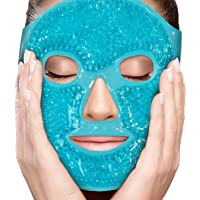 Face Eye Mask Gel Cold Pack - Reduce Puffiness, Bags Under Eyes, Puffy Dark Circles, Migraine - Therapeutic Heat and Ice Compress with Cover - for Sleep, Sinus Pressure, Headaches, Skin Care - Blue