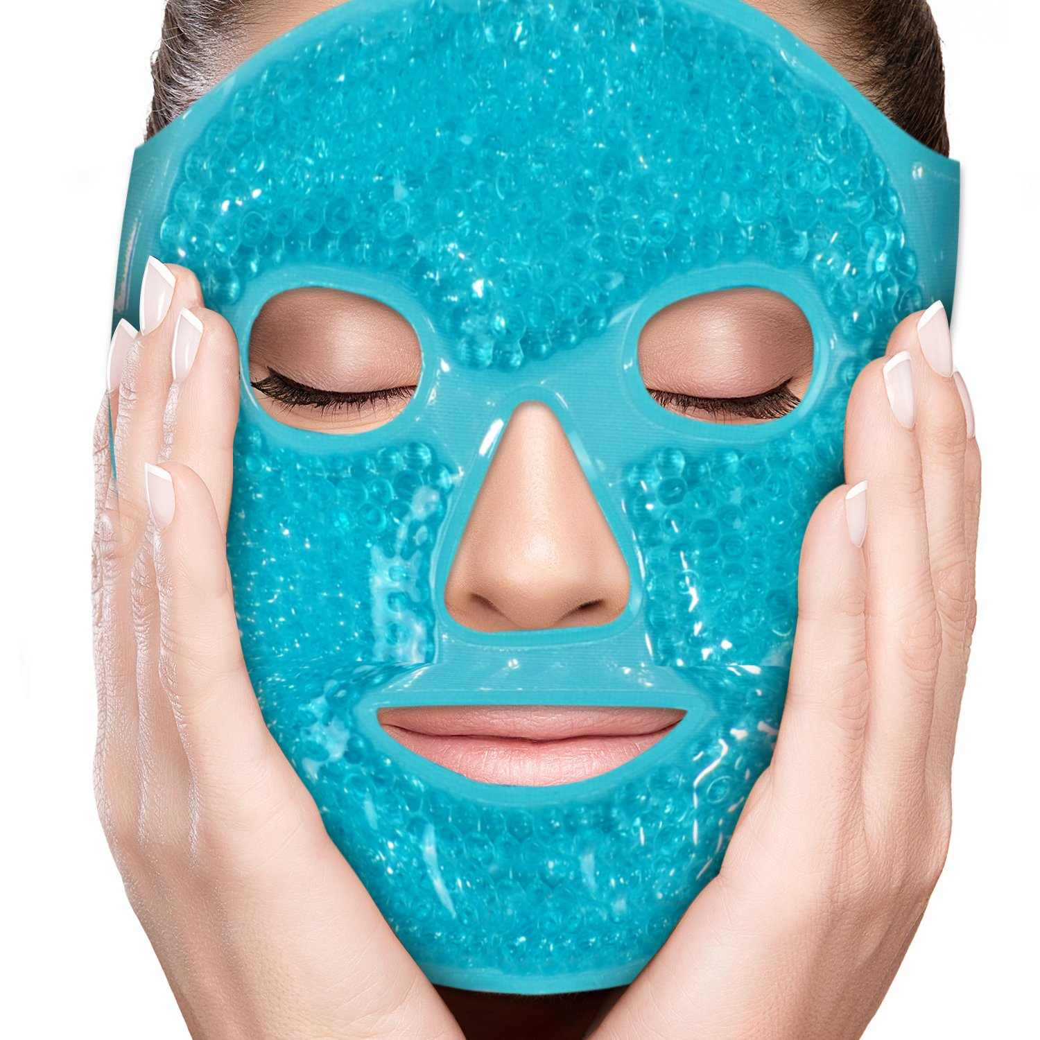 PerfeCore Facial Mask - Get Rid of Puffy Eyes - Migraine Relief, Sleeping, Travel Therapeutic Hot Cold Compress Pack - Gel Beads, Spa Therapy Wrap for Sinus Pressure Face Puffiness Headaches - Blue by Perfecore