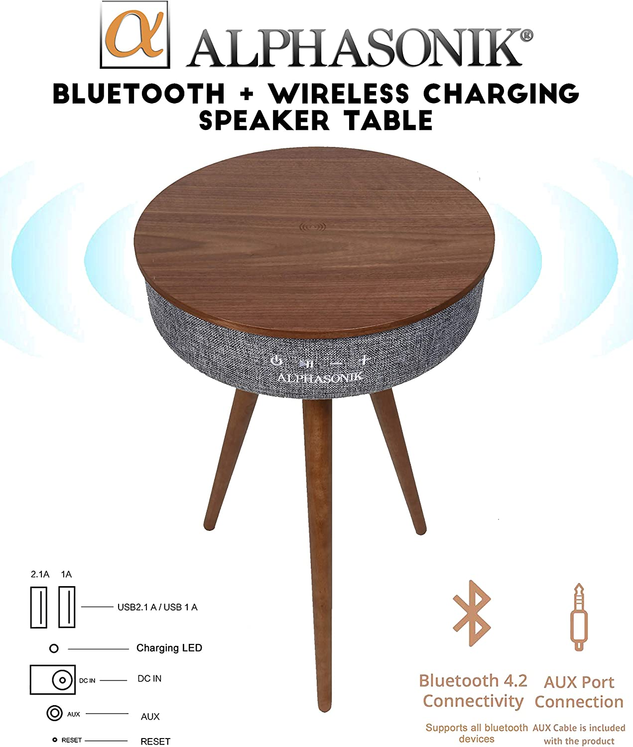 Alphasonik Decor Modern Home Portable Bluetooth Speaker 360 Surround HD Sound with 10 Speakers Drivers Built-in Qi Wireless Charger Dual USB AUX Inputs End Table Coffee Table Night Stand - Walnut 81uACwlwrjL