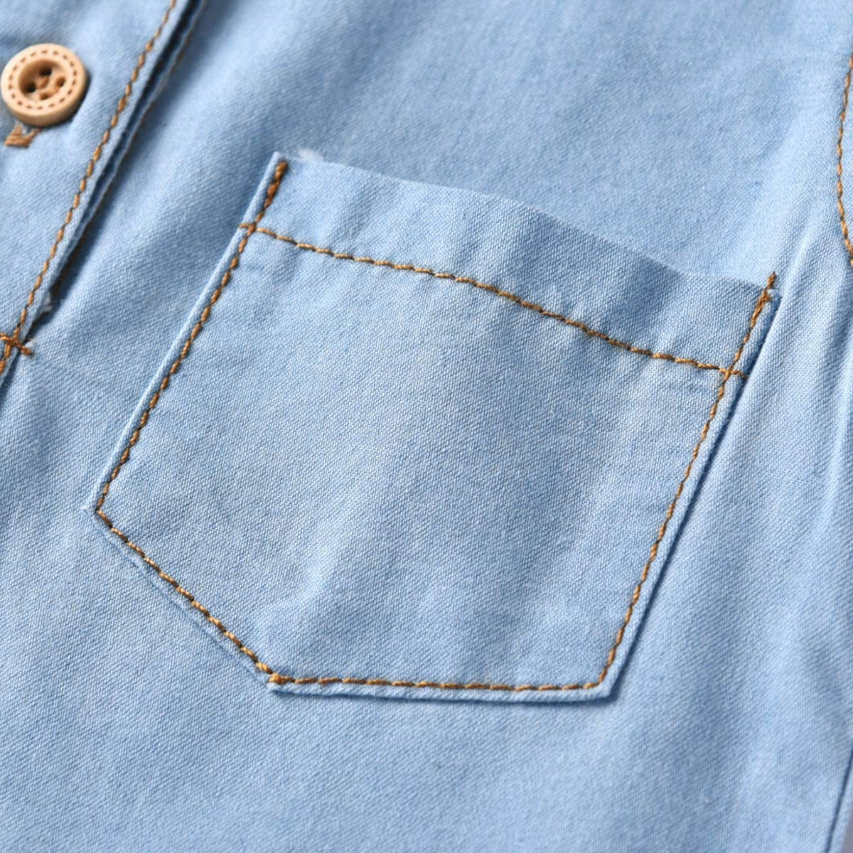 Dinlong Summer Baby Infant Girls Kids Fashion Casual Denim Sleeveless Shirt Ruffle Dress Sundress