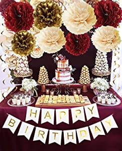 Burgundy Gold Birthday Party Decorations Burgundy Champagne Gold Tissue Pom Pom Happy Birthday Banner Burgundy Birthday Decorations for Women/Fall Birthday Party Decorations/30th Birthday Decorations