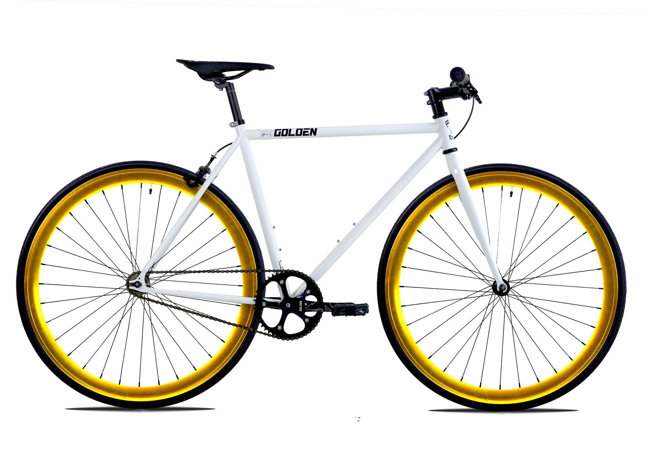 Golden Cycles Fixed Gear Bike Steel Frame Fixie with Deep V Rims-Collection (Shocker Gold , 59)