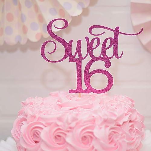 Surprising Amazon Com Sweet 16 Cake Topper Hot Pink Handmade Funny Birthday Cards Online Overcheapnameinfo