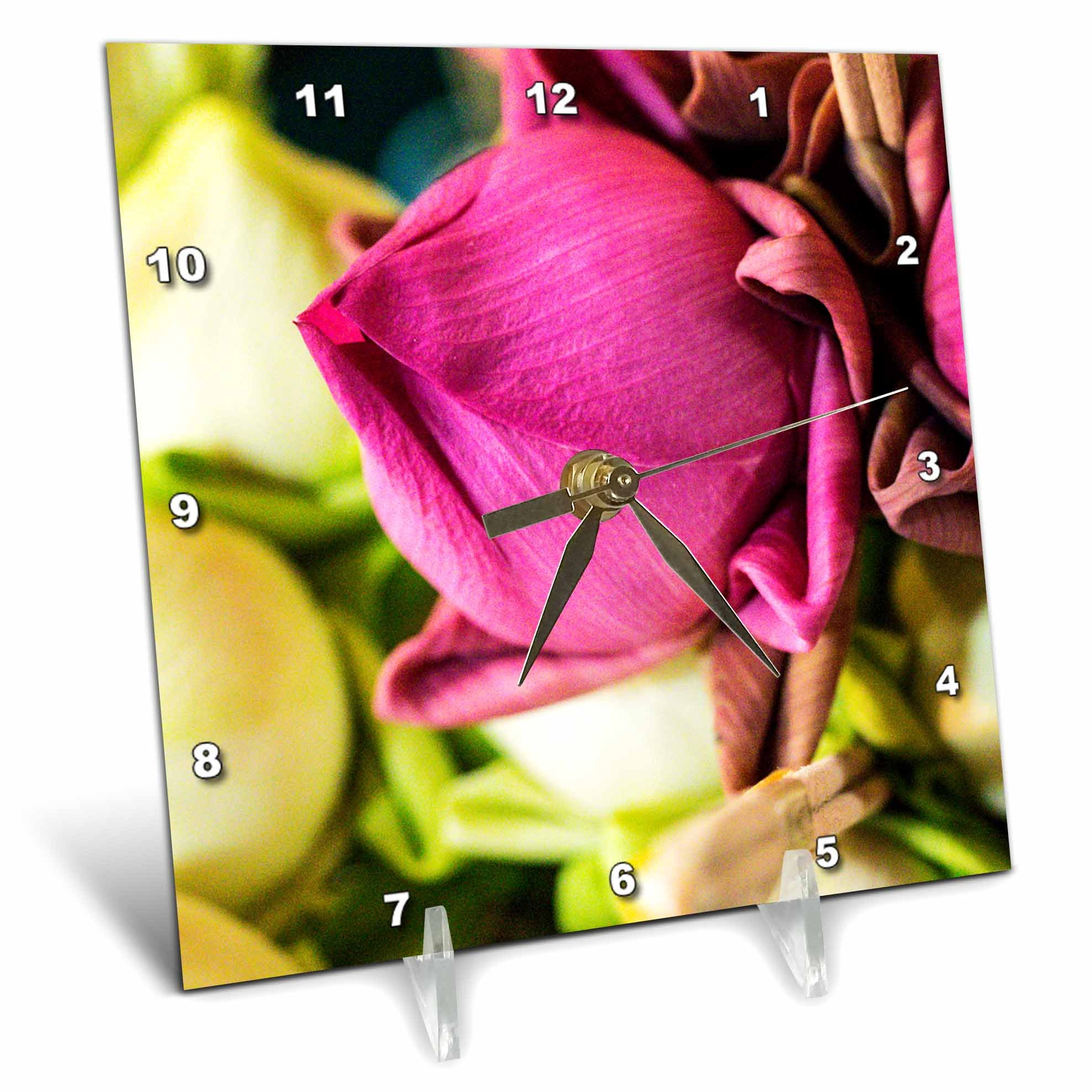 3dRose Danita Delimont - Flowers - Thailand, Chiang Mai, Flowers at the Thai Market Place - 6x6 Desk Clock (dc_276974_1) by 3dRose