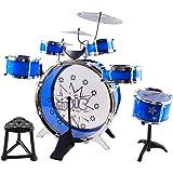 Kids Drum Set Children's 13 PC Musical Instrument Drum Play Set w/ 6 Drums, 3 Cymbals, Chair, Kick Pedal, Drumsticks (Blue Color)