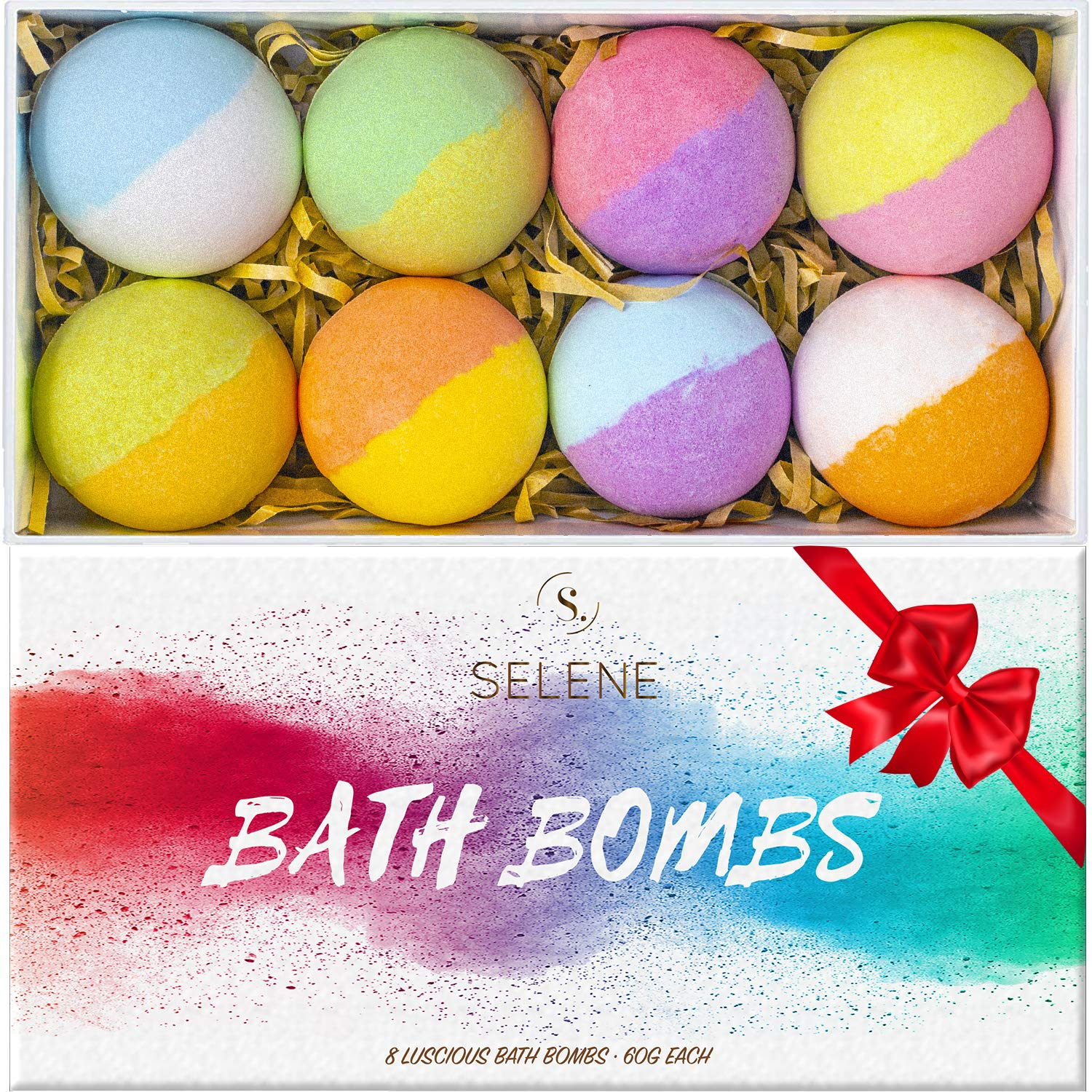 Selene Bath Bombs Gift Set For Kids, Women (8 Pack) - Lush Spa Fizzies To Moisturize Dry Skin - Best Gift Idea for Her, Mom, Girlfriend, Holiday, Birthday - Handmade, Vegan, and Non Staining Fizzies
