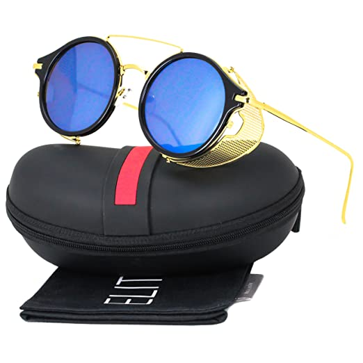 0ebb78bce32 Amazon.com  Elite Sunglasses Side Shield Steampunk Vintage Cool UV  Protection Hipster Round Glasses For Women   Men 51mm (Black Gold - Blue  Mirror