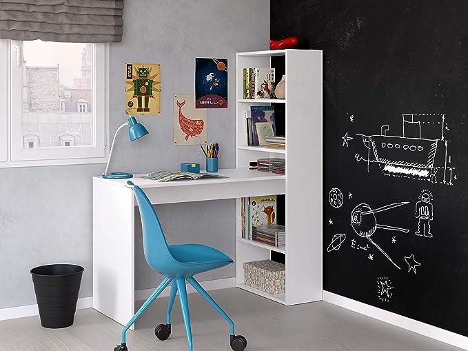 Habitdesign Scrivania con scaffale Reversibile Colore 120 x 144 x 53 cm Altezza Bianco Alpino