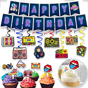 80's Retro Birthday Decorations Set - Totally 1980s Theme Swirls Streamers Garland Banner and Cupcake Topper Party Supplies