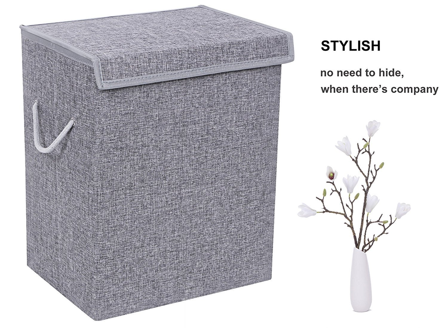 BEWISHOME Foldable Laundry Hamper,Large Laundry Basket Storage Bin for Clothes,Dirty Clothes Hamper w/Lids/Velcro,Grey Hamper with Removable liners & Sturdy Handles Grey YYL01G by BEWISHOME (Image #8)