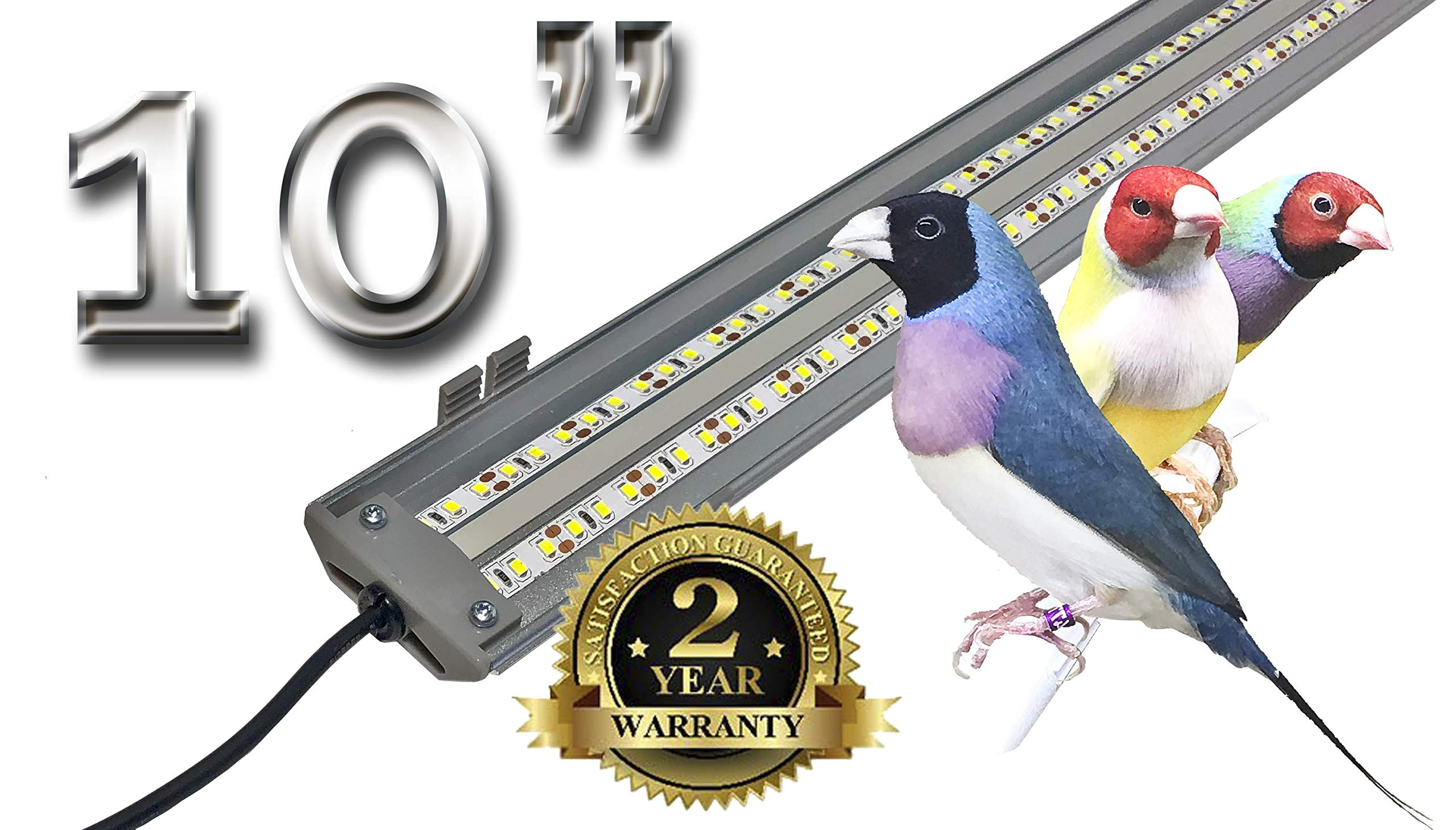 M&M Cage Company EZ PetLight for Softbill Birds - 10 Inch Full Spectrum LED Light for Birds, Reptiles and Aquariums by M&M Cage Company