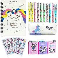 25 Piezas Bolígrafo Regalos de Unicornio para Niñas, Set de Papelería y Estuche Escolar y Cuaderno Libreta de Notas y…