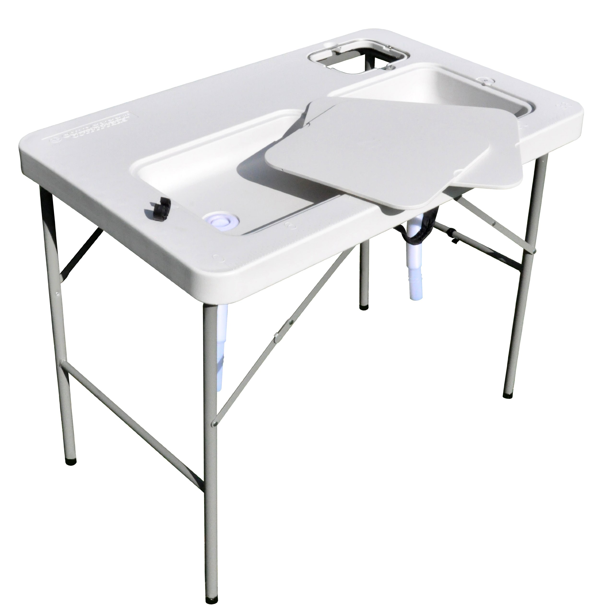 Coldcreek Outfitters Outdoor Washing Table and Sink, Ultimate Utility Work Station for Cleaning Fish or Game, Foldable Camp Table with Sink