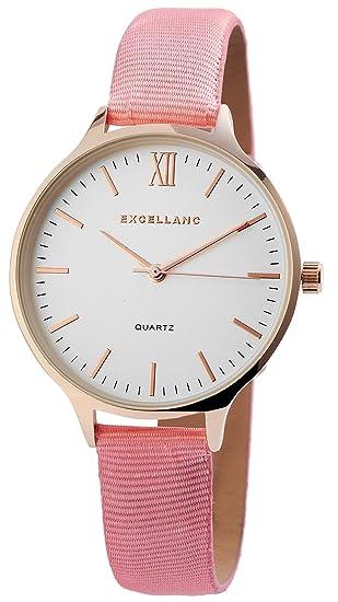 Reloj Mujer Blanco Rosa Oro números Romanos Analógico de Cuarzo Piel Reloj de Pulsera: Amazon.es: Relojes