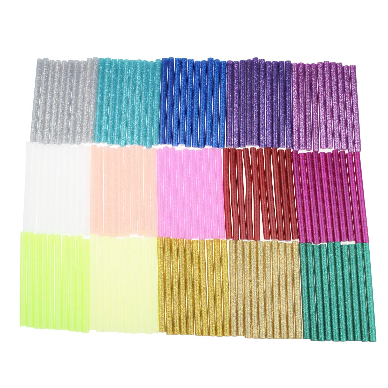 Lot de 150 bâtons de colle à paillettes pour loisirs créatifs 7 mm x 100 mm (15 couleurs)