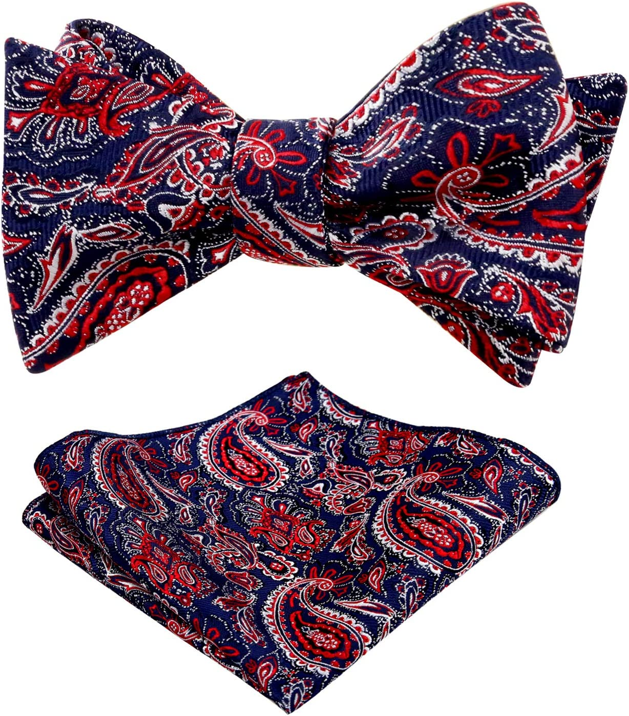 Alizeal Mens Paisley Jacquard Self-tied Bow Tie and Pocket Square Set Navy