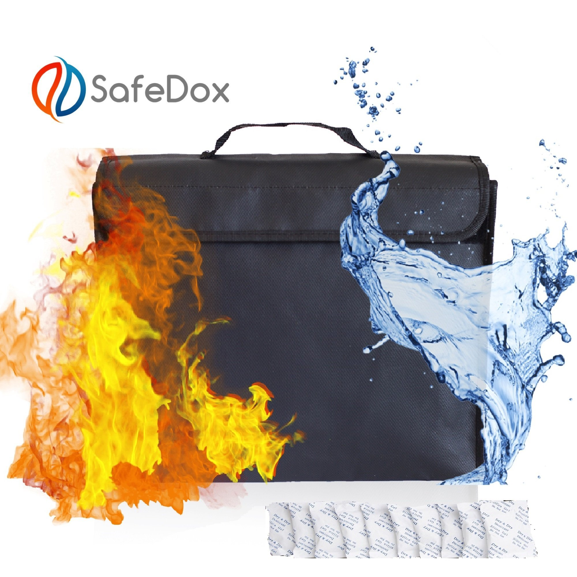Large Fireproof Document and Money Bag w/10 Desiccant Packets; Fire and Water Resistant File Pouch w/Handle. Safe Storage Organizer for Valuables and Important Documents