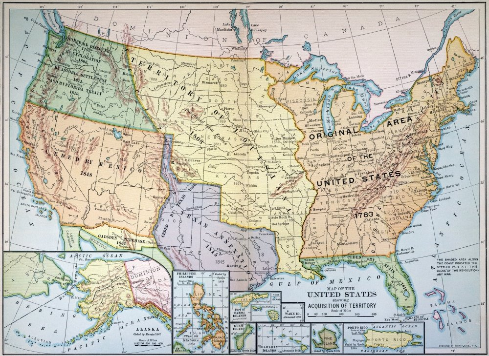 Amazon.com: Map US Expansion 1905 Nmap Of The United States ...