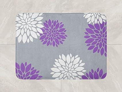 Amazon Com Floral Bath Mat Purple Grey Bathroom Decor Foam Bath Rug