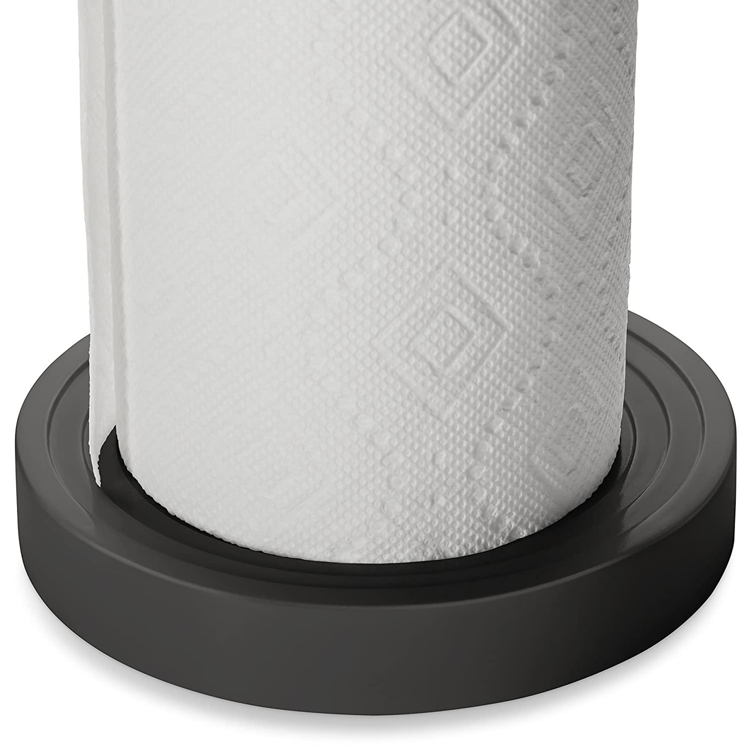 KOHLER Paper Towel Holder with Weighted Base, Tension Loop, Quick One Handed Tear, (Fits Standard and Oversized Rolls), Charcoal