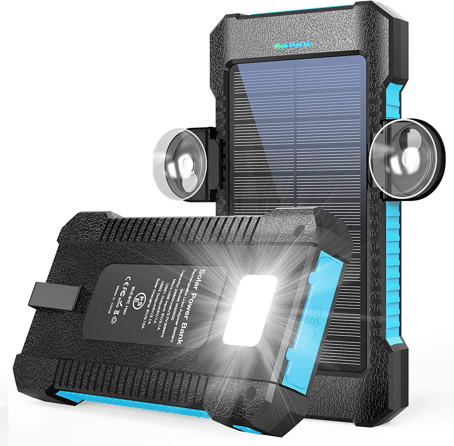 Solar Charger,Solar Power Bank 26800mAh,Solar Phone Charger with Car Blue