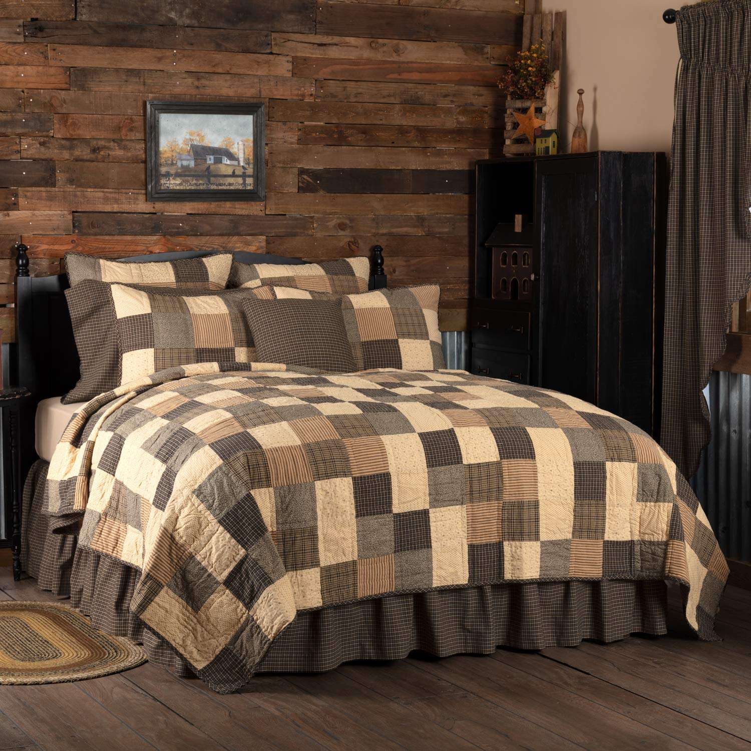 Country Black VHC Brands Primitive Bedding Prim Grove Cotton Pre-Washed California King Quilt