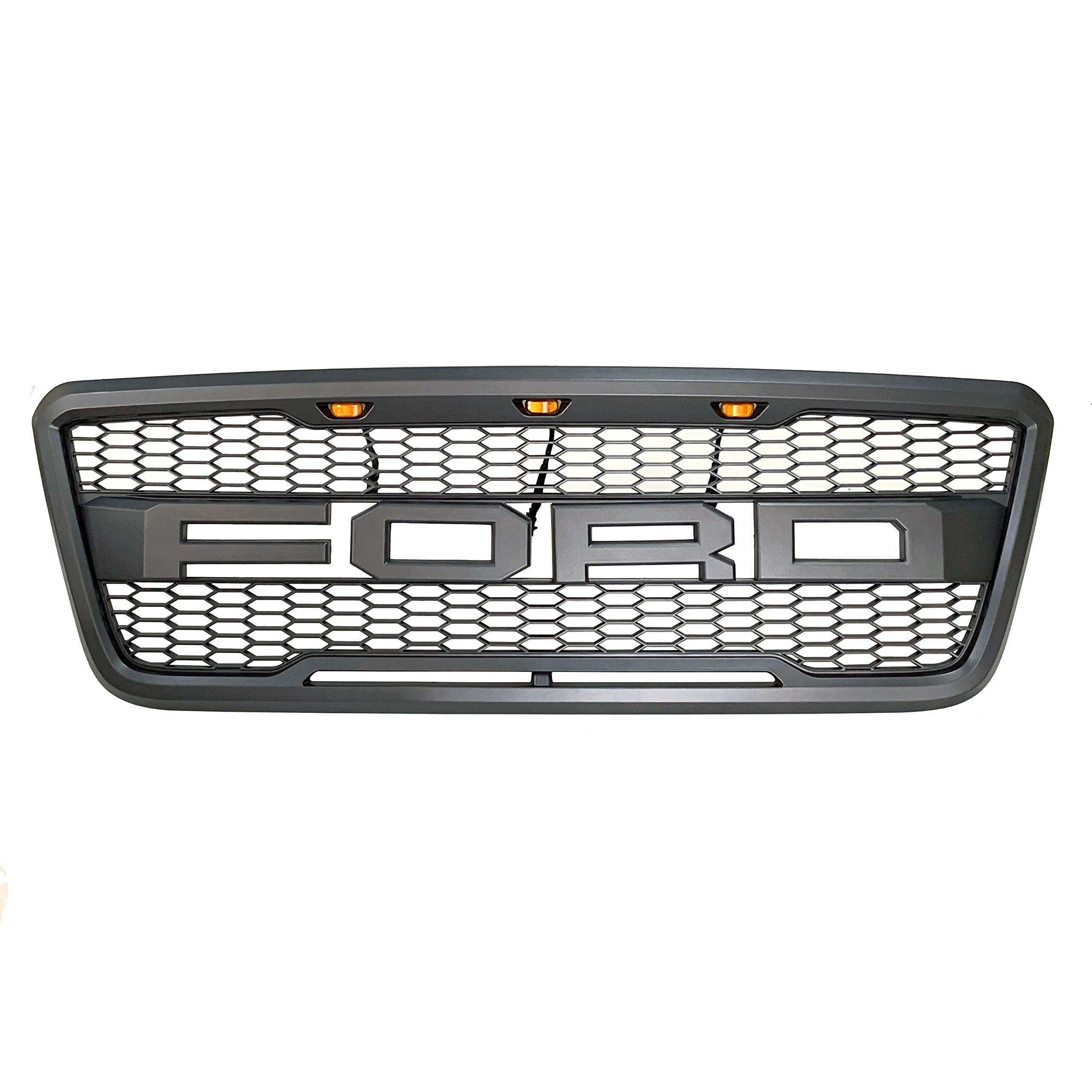 Front Grille Fits 2004-2008 FORD F150 Raptor Style Grill Kits With Amber LED Light and F&R Letter (Grey)