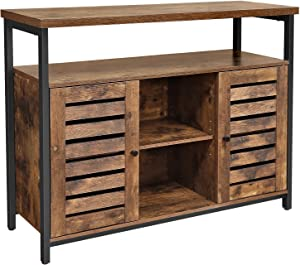 VASAGLE LOWELL Sideboard, Kitchen Storage Cabinet with Cupboard and Shelves, Louvered Doors, Floor Standing Cabinet, for Dining Room, Living Room, Hallway, Bedroom, Rustic Brown ULSC79BX