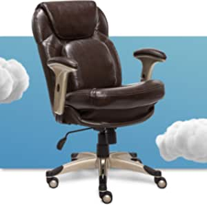 Serta Ergonomic Executive Office Chair Motion Technology Adjustable Mid Back Design with Lumbar Support, Brown Bonded Leather