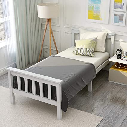 Cama individual moderna, cama doble, cama de madera con somier, cama de madera maciza con cabecero – Cama juvenil de madera maciza de 90 x 200 cm/140 ...