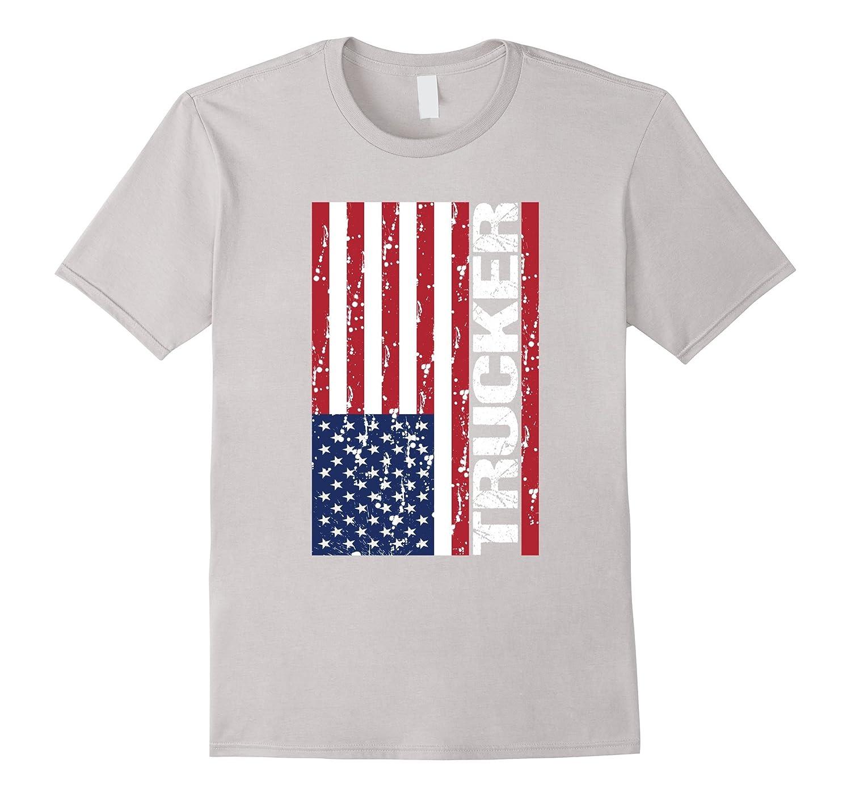 Cool USA Flag Trucker Flag Truck Driver T Shirt Gift