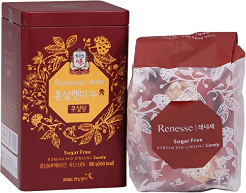 KGC Cheong Kwan Jang Renesse Korean Red Ginseng Extract Mint Hard Candy with no Sugar 44 Count – 180gram