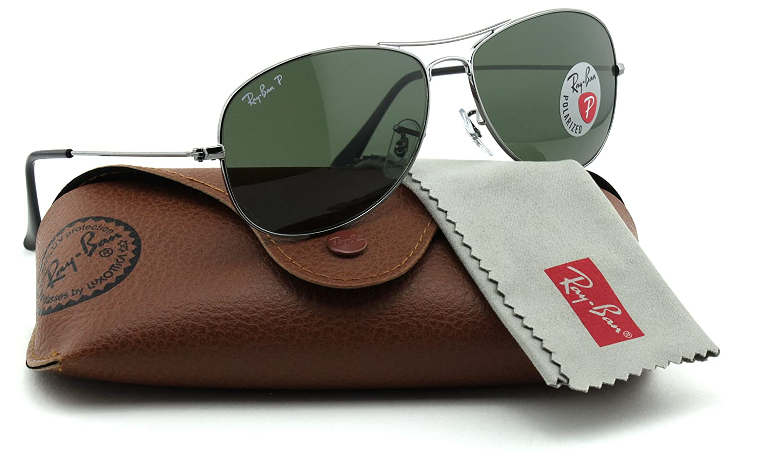 50adbe0c66 Ray-Ban RB3362 004 58 Cockpit Gunmetal Frame   Green Polarized Lens   Amazon.co.uk  Clothing