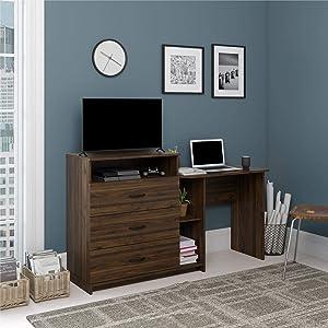 Ameriwood Home Rebel 3 in 1, Walnut Combo Media Dresser and Desk