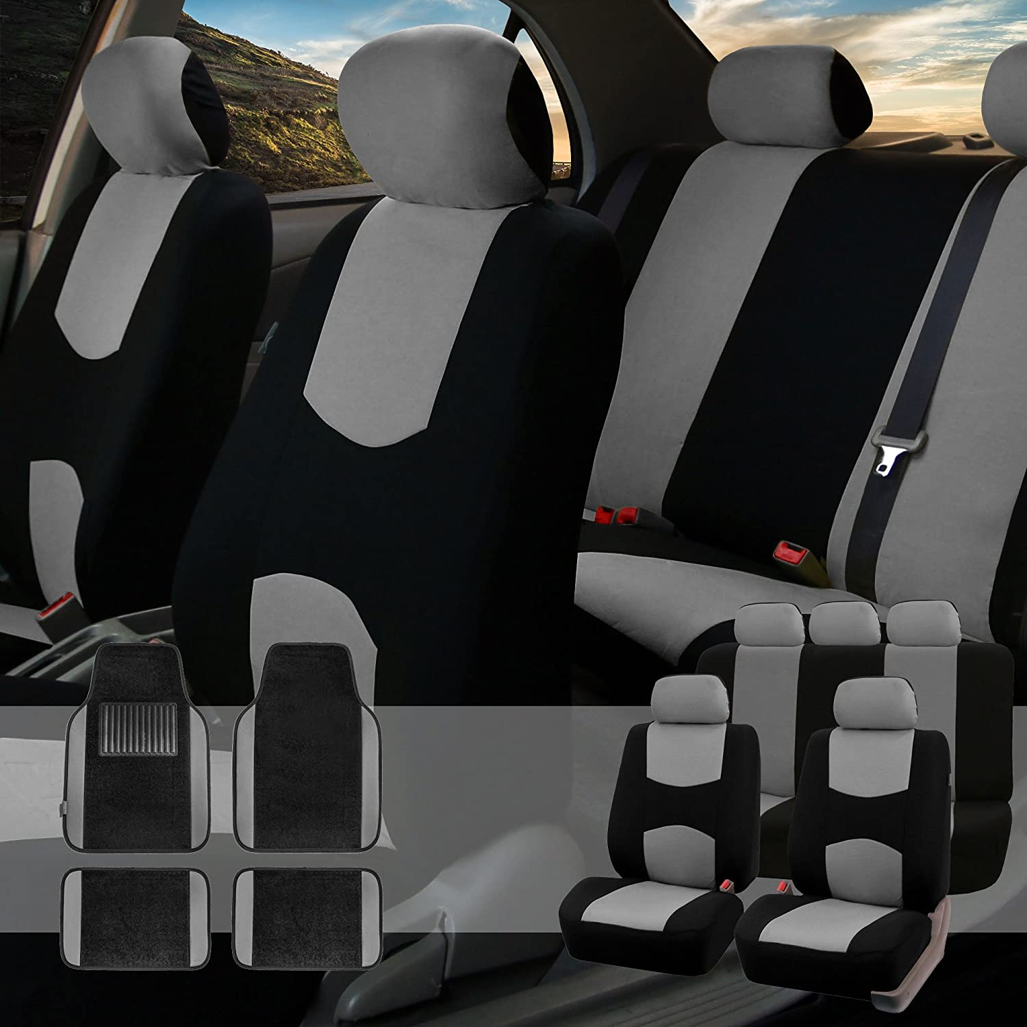 FH Group FB050115 + F14407 Full Set Flat Cloth Car Seat Covers with Premium Carpet Floor Mats Gray/Black- Fit Most Car, Truck, SUV, or Van