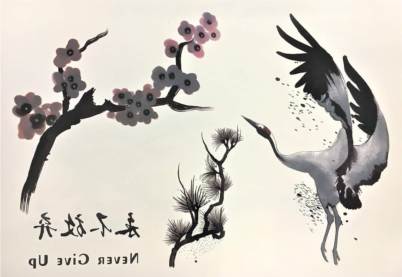 Fake Tattoo pájaro Tattoo escritura China Never Give Up Invierno ...