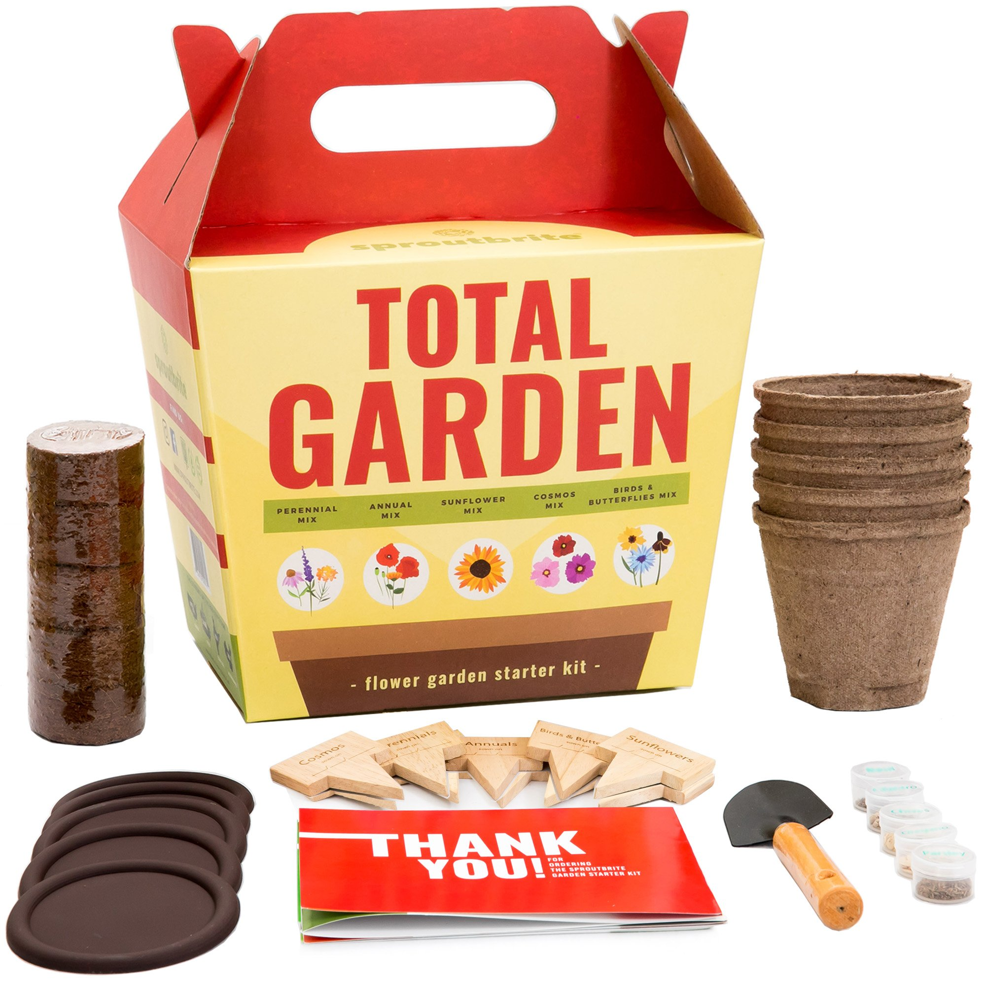 Sproutbrite Wildflower Garden Starter Kit - Grow Dozens of Flowers from Seed - A Complete Gardening Gift kit for Growing Indoors or Outdoors by Sproutbrite