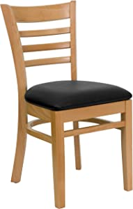 Flash Furniture HERCULES Series Ladder Back Natural Wood Restaurant Chair - Black Vinyl Seat